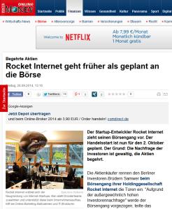 Rocket Internet: Börsengang nach vorne verlegt