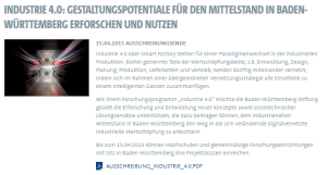 Industrie 4.0 in Baden-Württemberg: Ausschreibung der BW Stiftung