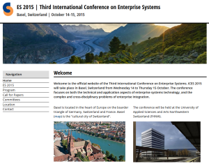ES 2015 - Third International Conference on Enterprise Systems in Basel