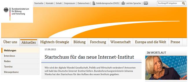 BMBF fördert Einrichtung eines Deutschen Internet-Instituts
