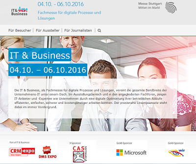 IT & Business 2016 vom 4.10. bis 6.10.2016 in Stuttgart
