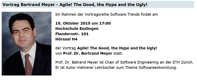 Agile! The Good, the Hype and the Ugly - Vortrag von Bertrand Meyer in Esslingen