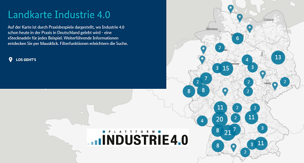 Landkarte Industrie 4.0 - Südwesten ganz vorne