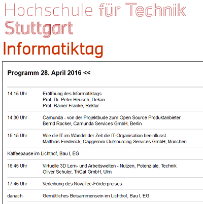 Informatiktag 2016 an der HFT Stuttgart am 28. April 2016