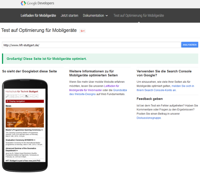 Google Mobile Check erfolgreich ...
