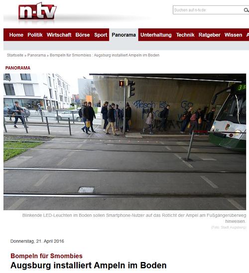 Bompeln für Smombies: Augsburg installiert Bodenampeln für Smartphone-Junkies
