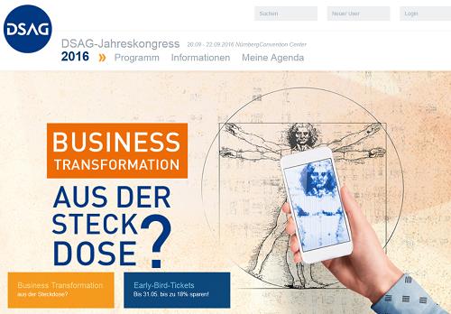 DSAG Jahreskongress 2016 vom 20. bis 22. September 2016 in Nürnberg