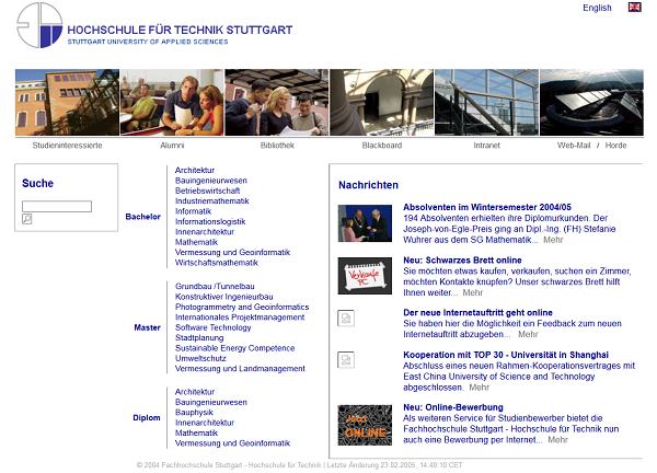Webseite der HFT Stuttgart im März 2005