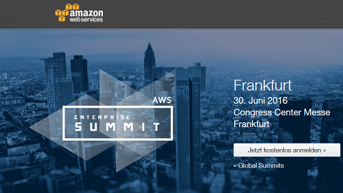 AWS Enterprise Summit 2016 am 30.6. in Frankfurt