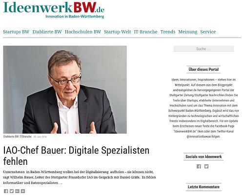 Der Leiter des Fraunhofer IAO Prof. Dr. Wilhelm Bauer zum Thema Digitalisierung und Ausbildung