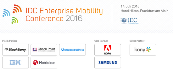 IDC Enterprise Mobility Conference 2016 am 14.7. in Frankfurt