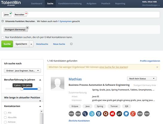 TalentBin: Social-Recruiting-Plattform von Monster (Testversion, daher nicht alle Details sichtbar)