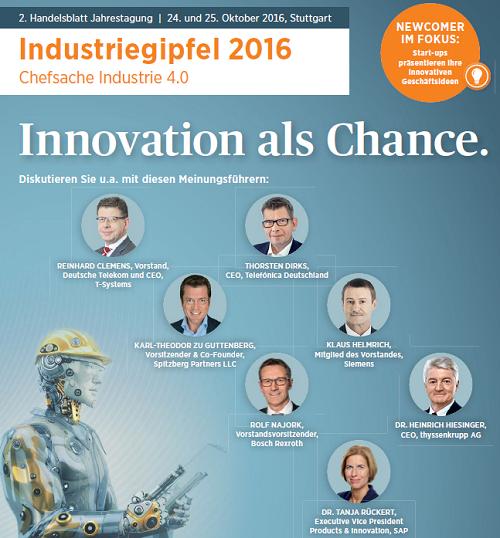 Industriegipfel 2016 in Stuttgart - Chefsache Industrie 4.0